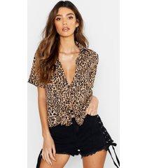 satin leopard knot front sleeved shirt, sand