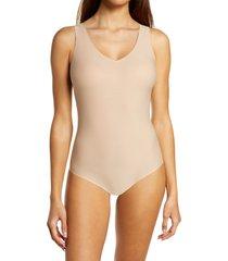 women's chantelle lingerie soft stretch padded bodysuit, size medium/large - beige
