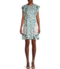 rebecca minkoff women's serene floral silk-blend dress - palm combo - size 2