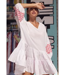 seafolly embroidered sleeve tiered dress white/pink
