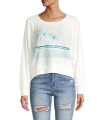 chaser women's graphic raglan-sleeve pullover - salt - size l