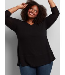 lane bryant women's henley mixed-stitch tunic tee 26/28 black