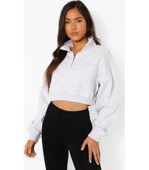 ingekorte oversized sweater met naad detail en korte rits, ash grey