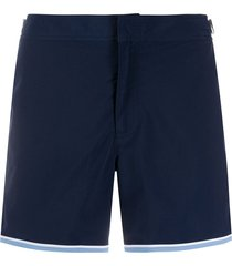 orlebar brown contrast-trim swim shorts - blue