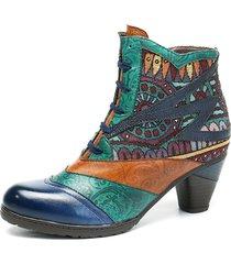 socofy bohemien stivaletti alla caviglia in pelle con tacchi squadrati con slpicing con chiusura lampo