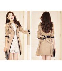 classic women windbreaker double-breasted with belt overcoat autumn coat