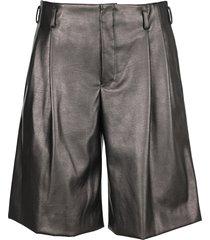 comme des garçons homme plus comme des garcons homme plus metallic black faux-leather shorts