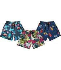 kit 3 shorts praia j10 estampado microfibra com elastano bolsos multicolorido