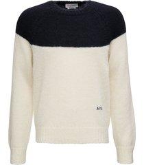 alexander mcqueen bicolor mohair and silk sweater