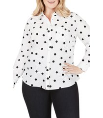 plus size women's foxcroft the hampton flirty dot button-up shirt, size 22w - black