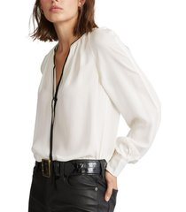 blusa necktie silk georgette blanco polo ralph lauren