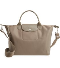 longchamp 'medium le pliage neo' nylon top handle tote - brown