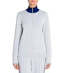 compact knit pinstripe zip track jacket