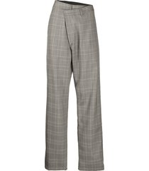 r13 cross-over plaid-check trousers - grey