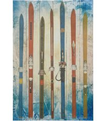 "empire art direct 'retro skis' arte de legno digital print on solid wood wall art - 36"" x 24"""