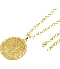 kit medalha são jorge com corrente tudo jóias portuguesa folheado a ouro 18k