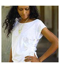 cotton tunic, 'side cinch white' (indonesia)