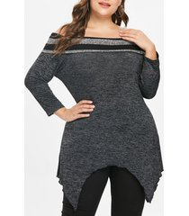 plus size off shoulder asymmetrical marled tee