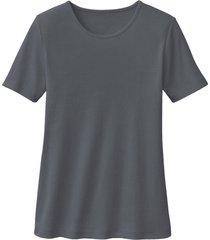 biokatoenen shirt met ronde hals, leisteen 34