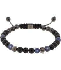 blue sapphire and onyx bead bracelet
