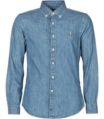 overhemd lange mouw polo ralph lauren chemise cintree slim fit en jean denim boutonne logo pony player