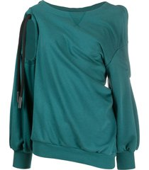 diesel twist-draped cold-shoulder sweatshirt - blue
