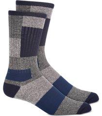 sun + stone men's navy patchwork socks