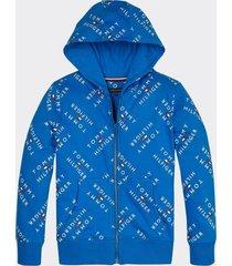 polerón en algodón con gorro y logos azul tommy hilfiger