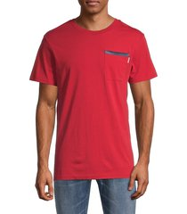g-star raw men's logo cotton pocket tee - red - size s