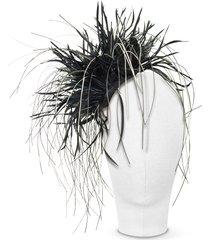 nana' designer women's hats, alicia - black feather headdress