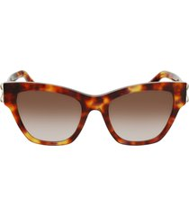 salvatore ferragamo 53mm gradient rectangle sunglasses in tortoise/brown at nordstrom