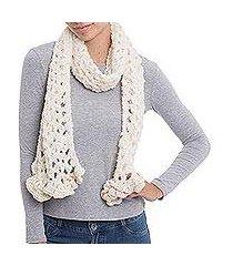 alpaca blend scarf, 'off-white elegance' (peru)