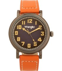wrangler men's watch, 50mm antique grey case with blue dial, white arabic numerals, with white hands, tan color strap with white stitching, over sized crown