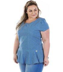 acd614dad9f961 blusa confidencial extra plus size jeans vinil peplum