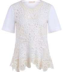 tory burch white cotton t-shirt with lace embroidery