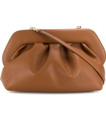themoirè pleated design clutch bag - brown