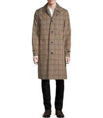 helmut lang men's plaid button-front coat - brown plaid - size 38