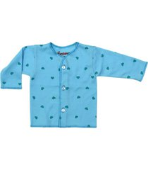 camiseta manga larga estampado corazones azules santana