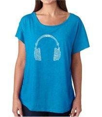 la pop art women's dolman cut word art shirt - 63 different genres of music
