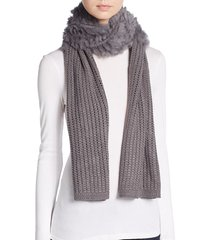 la fiorentina women's dyed rabbit fur-accent knit scarf - grey