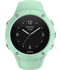 suunto spartan trainer wrist hr, ocean teal silicone band with a digital dial