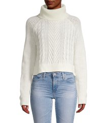 full circle women's cable-knit turtleneck sweater - snow white - size l