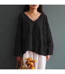 zanzea 2018 mujeres del estilo chino cuello en v manga larga de algodón botones de la blusa de lino primavera sólido camisa de split hem baggy top m-5xl negro -negro