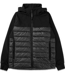 shell mixed padded goggle jacket