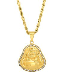18k goldplated stainless steel & simulated diamond buddha pendant necklace