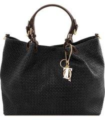 tuscany leather tl141568 tl keyluck - borsa shopping tl smart in pelle stampa intrecciata - misura grande nero