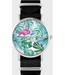zegarek - flaming, tropikalny - czarny, nylon
