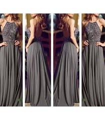 sexy high neck beadings grey chiffon long backless party/evening/prom dress
