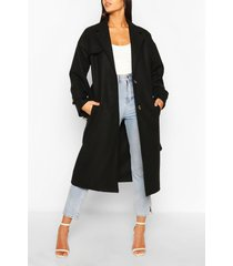 belted wool look trench coat, black