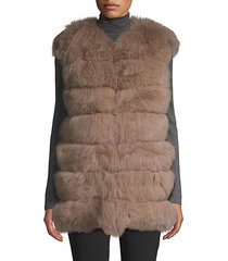 dyed fox fur bubble vest